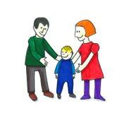 Ung familjillustration royaltyfri foto