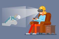 Ung flicka för virtuell verklighetexponeringsglasGamer som spelar den modiga illustrationen för Sit Armchair Cartoon Character Fl vektor illustrationer