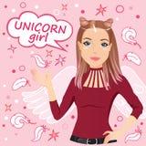 Ung flicka i bilden av en enhörning vektor illustrationer