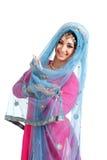 Ung flicka i den indiska nationella dräkten Royaltyfri Fotografi