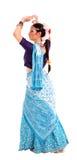 Ung flicka i den indiska nationella dräkten Arkivbild
