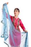Ung flicka i den indiska nationella dräkten Arkivbilder