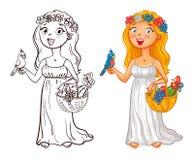 Ung flicka i en krans med fågel- och fruktkorgen stock illustrationer