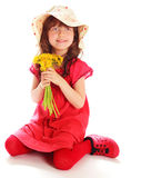 Ung flicka i en röd klänning Arkivbild