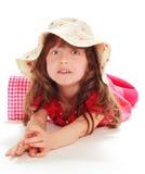 Ung flicka i en röd klänning Royaltyfria Foton