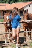 Ung flicka i lantgården som omges av hästar Royaltyfria Bilder
