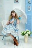 Ung flicka i provence stil Arkivfoton