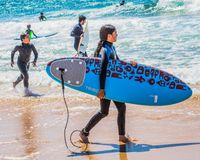 Ung flicka i wetsuits med en surfingbräda på en solig dag på stranden royaltyfria foton