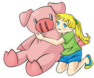Ung flicka kramar en piggy docka vektor illustrationer