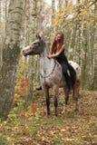 Ung flicka med appaloosahästen i höst Royaltyfri Fotografi