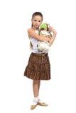 Ung flicka med dockan Arkivfoton