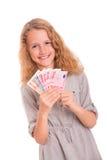 Ung flicka med Eurosedlar Royaltyfri Foto