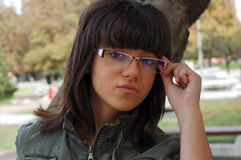 Ung flicka med exponeringsglas Royaltyfri Fotografi