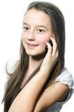Ung flicka med mobil Royaltyfria Foton