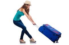 Ung flicka med resväska Royaltyfri Fotografi
