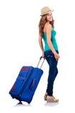 Ung flicka med resväska Arkivfoton