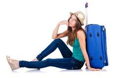 Ung flicka med resväska Royaltyfria Foton