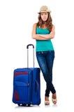 Ung flicka med resväska Arkivbilder
