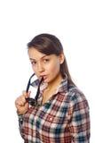 Ung flicka med skyddsglasögon i hand Fotografering för Bildbyråer