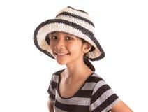 Ung flicka med sommarhatt II Arkivbild