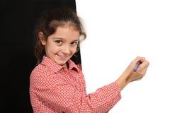 Ung flicka med whiteboard Arkivbilder