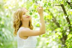 Ung flicka nära äppleträdet Arkivbilder