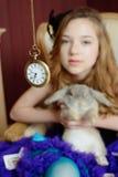 Ung flicka på bilden av Alice i underland Fotografering för Bildbyråer