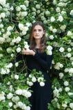 Ung flicka på en bakgrund av den blommande vita säsongen för viburnum på våren Royaltyfri Fotografi