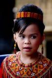 Ung flicka på Toraja begravnings- ceremoni Arkivbilder