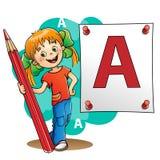 Ung flicka som drar en stor bokstav i röd blyertspenna Arkivbild