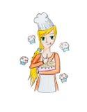 Ung flicka som förbereder muffin Arkivbild