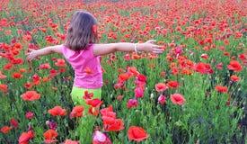 Ung flicka som går in i fält av vallmo Royaltyfri Fotografi