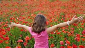 Ung flicka som går in i fält av vallmo Arkivbilder