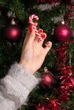 Ung flicka som rymmer den röda vita klubban för julgrangarnering Arkivfoton