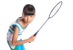 Ung flicka som spelar badminton VII Arkivbilder