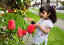 Ung flicka som tar en bild av vårtulpan Arkivfoto
