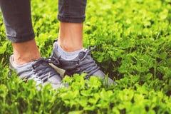 Ung flickafoten i sport skor gymnastikskor på grönt gräs på äng Royaltyfri Fotografi