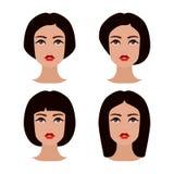 Ung flickaframsida med olik hårstil Brunettkvinnauppsättning av avatars royaltyfri illustrationer