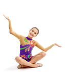 Ung flickagymnast royaltyfri bild
