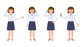 Ung flickakontorsarbetare i formella kläder genom att använda smartphonen stock illustrationer