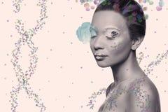 Ung flickamodellafrikan Arkivfoto