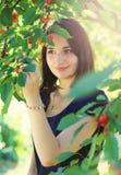 Ung flickaplockningkörsbär från körsbärsrött träd Royaltyfria Bilder