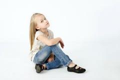 Stående av den unga blonda flickan Royaltyfria Bilder