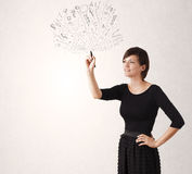 Ung flickateckning och skteching abstrakta linjer Royaltyfri Foto