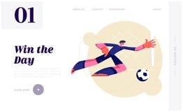 Ung fotbollmålvakt i rörelse av sidohoppet som försöker att fånga bollen Manlig fotbollspelare som studsar för att få bollen på t vektor illustrationer