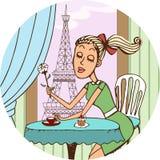 Ung fransk flicka som drömmer av förälskelse över kaffe royaltyfri illustrationer