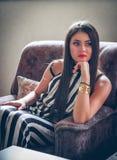 Ung fundersam kvinna för stående Royaltyfri Foto