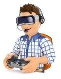 ung gamer som 3D spelar med virtuell verklighetexponeringsglas VR Fotografering för Bildbyråer