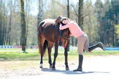 Ung gladlynt ägare för tonårs- flicka som kramar hennes favorit- häst royaltyfria bilder