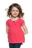 Ung gladlynt rödhårig flicka Arkivbilder